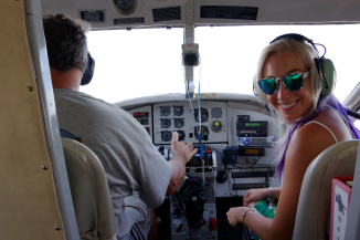 Nikki Sitting Co-Pilot for the Flight to Fort Jefferson.